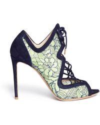 Nicholas Kirkwood 'Ava' Lace Suede Sandal Booties - Lyst