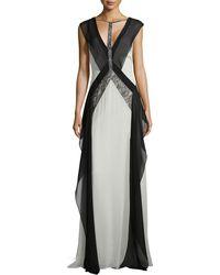 BCBGMAXAZRIA Jenelle Sleeveless Colorblock Gown - Lyst