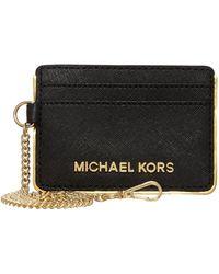 Michael Kors - Jetset Travel Specchio Black Chain Card Holder - Lyst