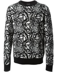 Dior Homme Scribble Print Sweater - Lyst