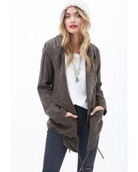 Forever 21 Asymmetrical Hooded Jacket - Lyst