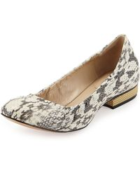 Pour La Victoire Snakeskin Spiked Heel Flat - Lyst