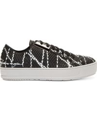 Neil Barrett Black and White Python Embossed Metal Plate Sneakers - Lyst