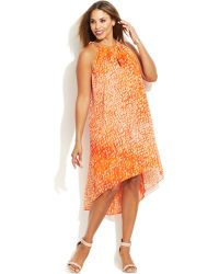 Michael Kors Michael Plus Size Printed High-Low Dress - Lyst