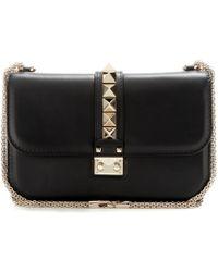 Valentino Lock Leather Shoulder Bag - Lyst