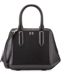 Halston Heritage Structured Leather Mini Satchel Bag Black - Lyst