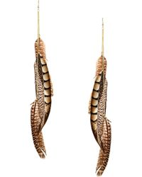 Asos Single Feather Chain Earring - Lyst