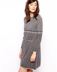 Orla Kiely - Knitted Dress In Raining Cat Fairisle - Lyst