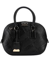 Burberry Black Check Leather 'Orchard' Small Bowling Bag - Lyst
