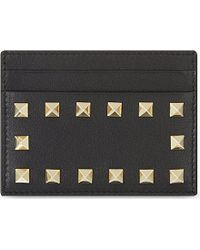 Valentino Classic Rockstud Leather Card Holder - For Women - Lyst