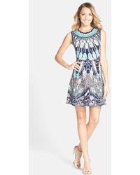 BCBGMAXAZRIA 'Wilma' Print Back Cutout Fit & Flare Dress - Lyst