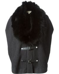 MICHAEL Michael Kors Faux-fur Trimmed Collar Poncho - Lyst