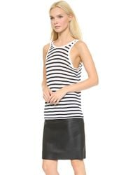 T By Alexander Wang Stripe Rayon Linen Tank Ink and White - Lyst