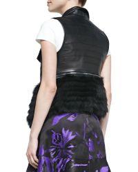 J. Mendel - Fox Fur Trimmed Leather Vest - Lyst