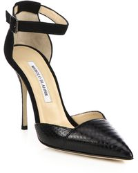 Manolo Blahnik | Davia Suede & Watersnake Pumps | Lyst