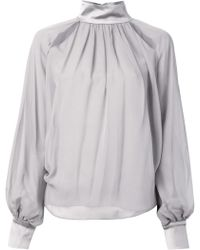 Prabal Gurung Contrasting Neck And Cuffs Gather Detail Blouse - Lyst