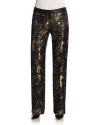 Roberto Cavalli Metallic Jacquard Pants - Lyst