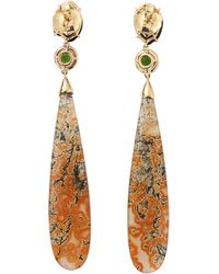 Pamela Huizenga - Moss Agate And Geode Earrings - Lyst