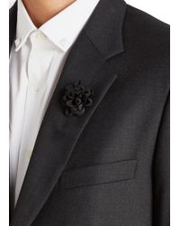 Lanvin - Black Wool Blend Flower Tie Pin - Lyst