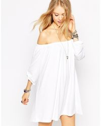 Asos Swing Dress With Off Shoulder Gypsy Detail white - Lyst