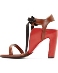 Maison Margiela Brown Leather Heeled Sandals - Lyst