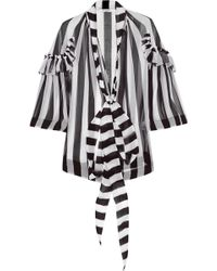 Givenchy Blouse In Black And White Striped Silk-Chiffon - Lyst