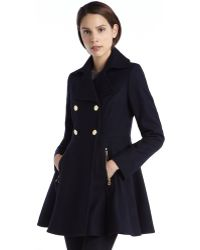 Laundry by Shelli Segal Navy Wool Double Breasted Peplum Coat - Lyst