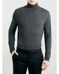LAC - Bk Salt And Pepper Leightweight Roll Neck Jumper - Lyst