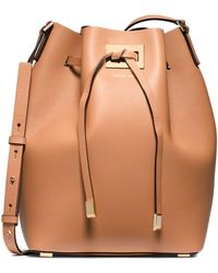 Michael Kors Miranda Large Leather Messenger - Lyst