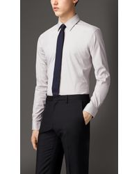 Burberry Slim Fit Stretch Cotton Blend Shirt - Lyst