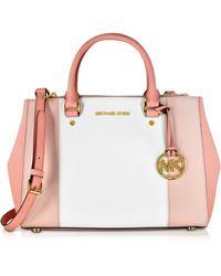 Michael Kors - Sutton Tricolor Medium Saffiano Leather Satchel Bag - Lyst