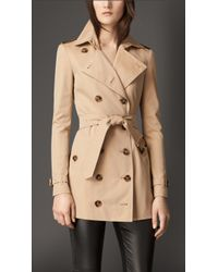 Burberry Horn-Look Detail Cotton Gabardine Trench Coat - Lyst