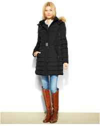 Tommy Hilfiger Hooded Faux-fur-trim Belted Puffer Coat - Lyst