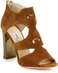 Jimmy Choo | Mimi Cutout Suede Sandals | Lyst
