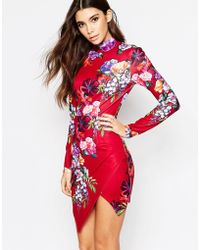 Ginger Fizz | High Neck Body-conscious Dress With Asymmetric Skirt In Bold Floral | Lyst