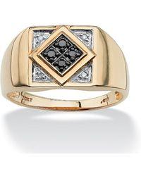 Palmbeach Jewelry - Men's .10 Tcw Round Black And White Diamond Geometric Ring In 10k Yellow Gold - Lyst