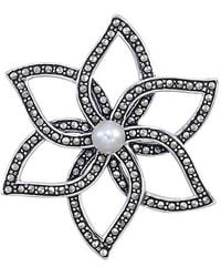 Lord & Taylor - Sterling Silver And Marcasite Flower Brooch - Lyst