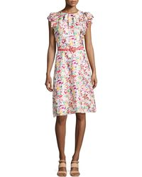 Carolina Herrera Printed Ruffle-sleeve Dress - Lyst