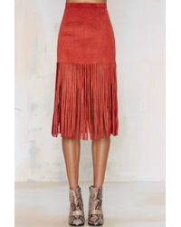 Nasty Gal | Hang Tight Fringe Skirt - Rust | Lyst