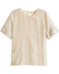 H&M Beige Silk Top - Lyst