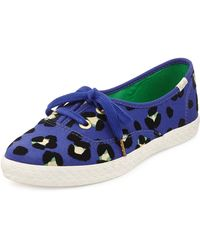 Kate Spade Keds Leopardprint Canvas Pointer Sneaker Emperor Blue - Lyst