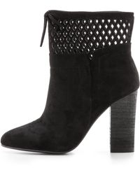 Belle By Sigerson Morrison Feng Cutout Suede Booties - Black - Lyst