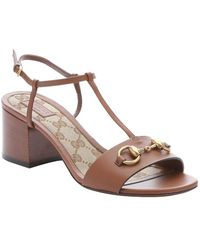 Gucci Brown Leather Horsebit Detail T-Strap Sandals - Lyst