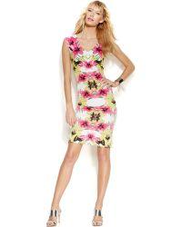 Inc International Concepts Petite Printed V-Neck Bodycon Dress pink - Lyst