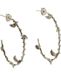 Pamela Love Silver Large Thorn Hoop Earrings - Lyst
