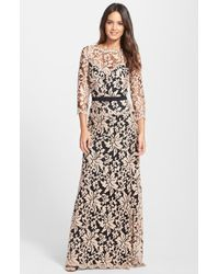 Tadashi Shoji Belted Embroidered Lace Gown - Lyst