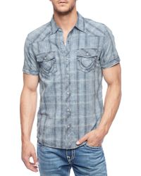 True Religion Double Pocket Plaid Mens Shirt blue - Lyst