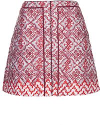 Topshop  Limited Edition Quilted Tile Print Skirt   - Lyst