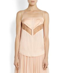 Givenchy Camisole in Blush Silk-chiffon and Lace - Lyst