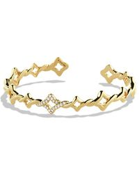 David Yurman Venetian Quatrefoil Singlerow Cuff Bracelet with Diamonds in Gold - Lyst